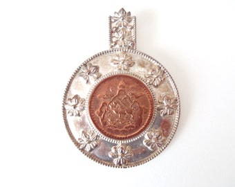 Vintage Nepali Sterling Silver Pendant with Bezel-Set Copper Tibetan 5 Sho Coin Lion 3 Mountains Sun & Moon PTI 925 Nepal 10 Flower Design