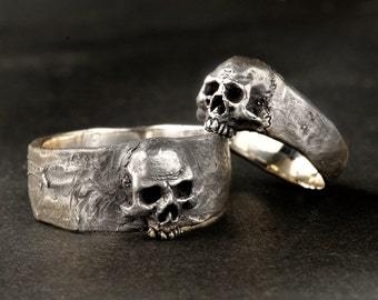 silver skull wedding ring set solid sterling silver wedding ring set - Skull Wedding Rings