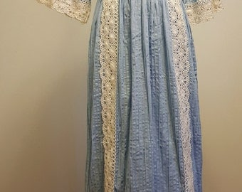 Vintage Boho Dress. Baby Blue Pintuck Maxi Hand Crocheted Lace Trim. Medium