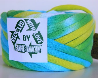 Recycled T Shirt Yarn, Blue, Green, and Yellow Hand Dyed Tie Dye 22 Yrds, T- Shirt Yarn, Tarn