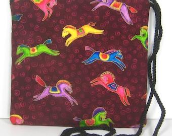 Colorful Prancing Horses on Laurel Burch Fabric, Caryn Crossbody Pouch