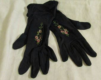 Max Mayer Navy Gloves with Pink Detail