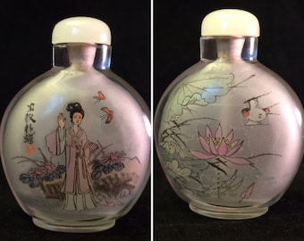 Signed Inside Painted Snuff Bottle with Geisha, Lotus, Bird
