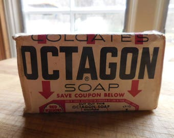 Vintage 1960s Colgate's Octagon Bar Soap Colgate-Palmolive Co. Retro Bathroom/Laundry Room Decor From Hands/Laundry Display Red/White/Black