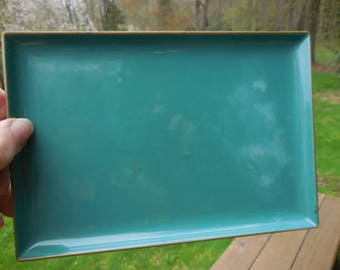 Vintage 1950s to 1960s CTO Japan Teal Green Plastic Snack Tray Retro Decor Gold Trim Display (1)