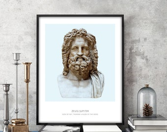 Zeus | Portrait of Zeus, Greek Mythology, Zeus Statue Photograph, Zeus Bust Art Print, Modern Home Decor, Blue and White, Zeus Art Print
