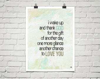 Another Chance To Love You 18x24 Art Poster Giclee Beige Blue Lisa Weedn