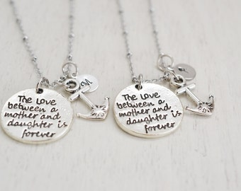 anchor necklace, silver necklace, nautical, mother and daughter, keepsake, anchor jewelry, new parents gift, new mom gift, strength necklace