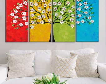 Four Seasons Tree Painting, Flowers Tree painting, Blossom Oil Painting, Modern Palette Knife, Tree Impasto painting Textured Tree Art