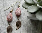 Dangle earrings leaf earrings romantic jewelry lavender tear drop long earrings unique gift for wife girlfriend