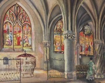 Antique French Oil Painting of a Cathedral and Priest, Ecclesiastical Painting, Stained Glass Windows, Religious Collector
