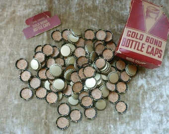 Box Of Unused Vintage Gold Bond Bottle Caps With Cork Lining - 137 Total