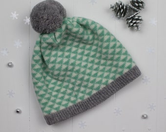Mint and grey triangle knitted pom pom hat - made in Great Britain from lambswool