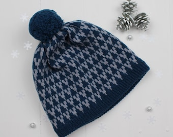 Diesel and seal arrow knitted pom pom hat - made in Great Britain from lambswool