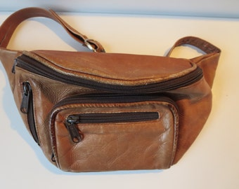 Distressed Brown Leather Fanny Pack - Vintage Brown Leather Bum Bag