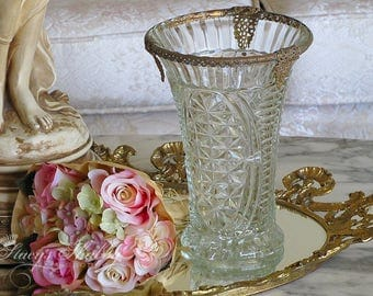 Stunning Vintage FLOWER VASE With Gold FILIGREE Edging, 1940's, Flowers, Floral, Cut Glass, French Style