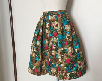 Vintage 50s Barkcloth Full Skirt