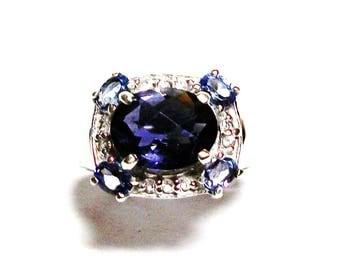 "Iolite, iolite ring, iolite engagement ring, blue wedding, blue white,  anniversary ring, s 6   ""Blue Wind"""