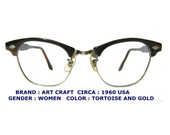 Mens eyeglasses gold metal aviator eyewear vintage 80s for Art craft eyeglasses vintage