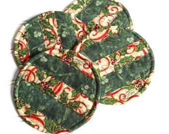 Christmas Quilted Coaster Set, Fabric Mug Rugs, Mistletoe Holly and Berries