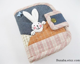 Women Wallet, Short Wallet, Handmade Quilt Wallet, Bunny Wallet, Rabbit Wallet, Denim Wallet