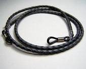 Gray with Black Eyeglass Chain, Leather Cord for Glasses, Custom Made 24-36 inchs, by Eyewearglamour