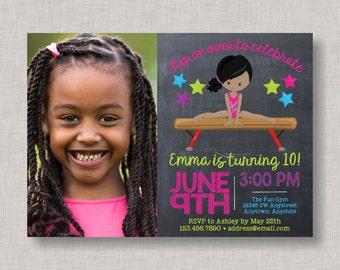 Gymnastics Birthday Invitation, Gymnastics Invitation, Gymnastics Party, Gymnastics Birthday, Tumbling, Tumble, Gym, Chalkboard Invitation