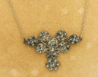 Art Deco Sterling Marcasite Necklace Vintage Floral
