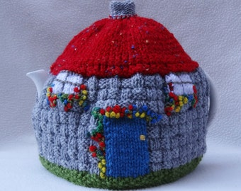 English Tea Cosy Thatched Cottage design Hand Knitted in England