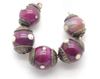 Lampwork Bead Set of Court Jester Beads in Magenta