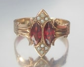 Antique Victorian UNIQUE Garnet and Pearl Rose Gold Ring