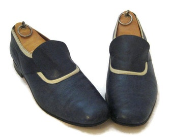 70s Blue Shoes Blue Leather Shoes Two Tone Slip Ons  Blue Mens Shoes 1970 Leather Slip Ons Mens Leather Shoes  Blue Loafers Two Tone Loafer
