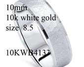 Custom Order 10k White Gold size 8.5 10mm wide 10kwb4133 style add milgrain between center and edge