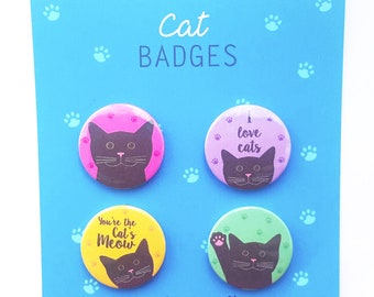 Black Cat Badges/Buttons/Pins 4 pack