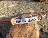 Be The Change Bracelet -Inspirational Bracelet-Sterling Silver & Neutral Leather Bracelet -Hand Stamped Motivational Bracelet-Pick Your Word