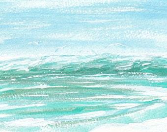Seagull Print, Nursery Decor, Large Wall Art, Coastal Decor, Bathroom, Ocean Art, Beach Art, Fine Art Giclee, Aqua Decor, Turquoise, Green