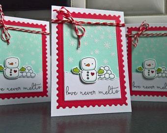 Winter Anniversary Card, I Love You Card, Snowman Love Card for Husband, Boyfriend Card, Anniversary Card, Winter Love Card