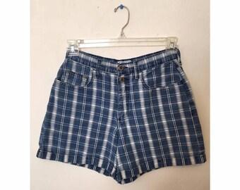 High Waisted Denim Plaid Shorts