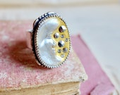Handmade silver ring, French 1900s moon motif w/ marcassite chaton crystals, Silver Moon & Stars ring, gift