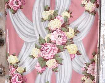 Romantic Pink English Cabbage Roses Pale Yellow Hydrangea Floral Swaged Vintage 1930s Fabric