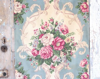 Neoclassical 1930s French Blue and Cream Scrolled Antique English Pink Rose Floral Vintage drapery Panels