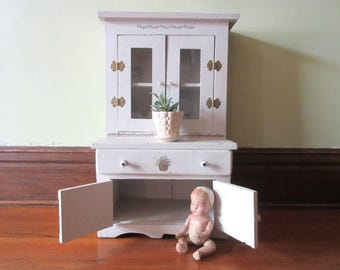 """Vintage Child's Step Back Cupboard 28"""" Hutch Cabinet Chippy White"""