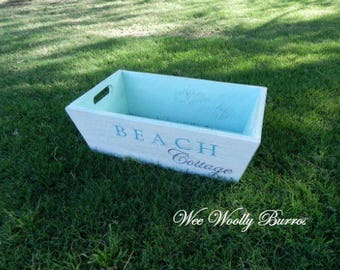 Shabby Beach Cottage - Large Wood Bin Crate Caddy Box Table Centerpiece with Open Handles