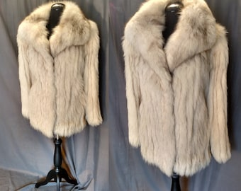 Vintage 70s Platinum Fox  / 1970s Fox Fur stripped with gray Suede with Huge Collar Excellent Condition - 70s Rock