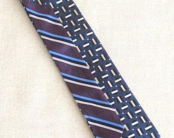 Mens Ties, Vintage Silk Tie, Stripped, Stripes, Nordstrom, Hand Embroidered, Blue, Purple, Upcycled, Wil Shepherd,Mans Tie,Neck Wear,Preppy