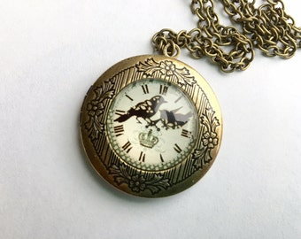 Faux clock locket necklace - etched pendant with glass dome on antique bronze chain - vintage style - Birds & Crown - Gift for her