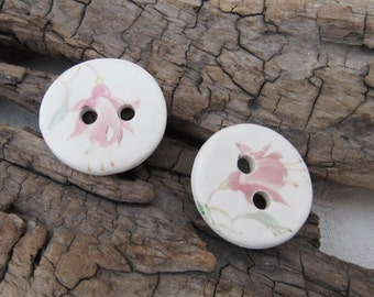 2 Pale Pink Fuchsia Flower Pattern Glazed White Ceramic Buttons
