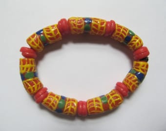 Colorful Coral Recycled Glass Bracelet