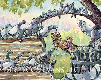 Illustration Art Print of Squirrel and Pigeons in the Park 8.5x11