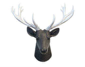 Mini Black And Silver Deer Head Wall Mount - Matte Black Deer Head With Silver Antlers - Home Decor Wall Mount SD1710